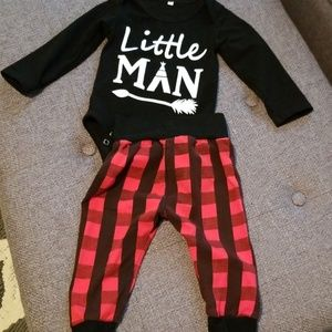 Other - Size 90 little man buffalo plaid outfit
